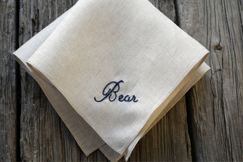 Oatmeal Irish Linen Handkerchief with Embroidered Name - Simple and Sweet