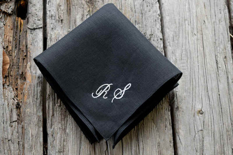 Black Irish linen handkerchief with two white letters in script