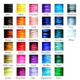 Color card showing 33 options of satin border cord