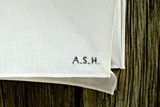 Hand Embroidered Pocket Square - Tiny Initials