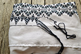 Hand Embroidered Throw Blanket, Afghan in Crystal