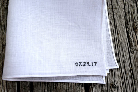 Wedding Date Hand Stitched Linen Handkerchief : Bottom Corner