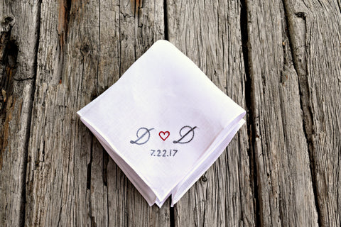 Sweetheart Handkerchief with Wedding Date