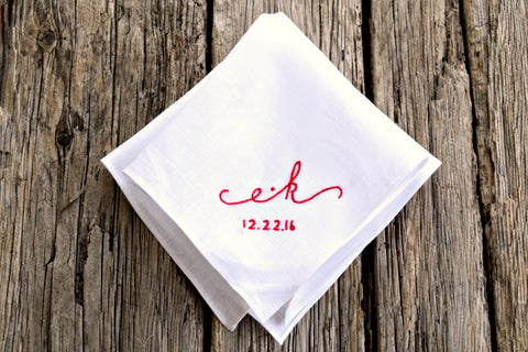 Sweetheart Handkerchief with Wedding Date : Casual Elegance