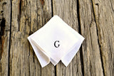 White Irish Linen Pocket Square : One Initial, Classic Script