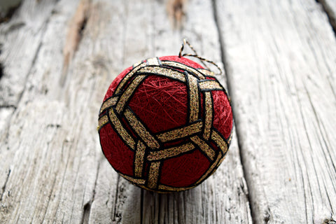 Golden Chains Japanese Temari Ball