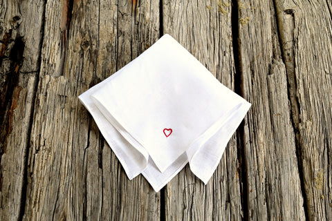 Tiny Heart Hand Stitched Linen Handkerchief