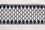 Closeup of swedish weaving huck towel showing pattern of diamonds