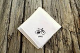 White Irish linen handkerchief embroidered with bike and initials in one corner