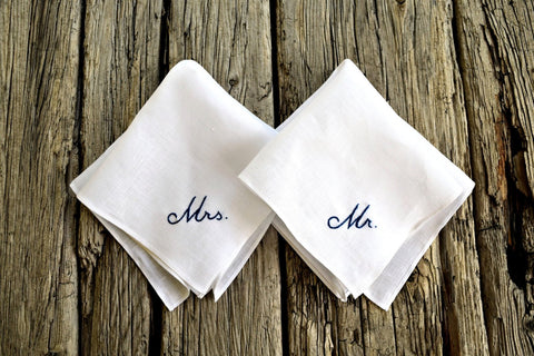 Pair of white linen handkerchiefs - one embroidered Mrs. and one with Mr.