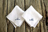His and Hers Set of Two Personalized Wedding Handkerchiefs