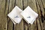 Two white linen handkerchiefs, one embroidered Mr. and one Mrs.