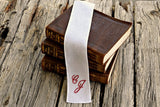 Irish linen fabric bookmark hand embroidered with two initials