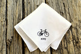 White linen pocket square hand embroidered with bicycle