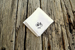 White Irish linen pocket square hand embroidered with black bike and initials