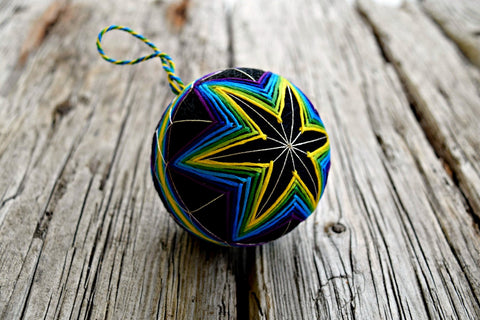 Dark Rainbow Neon Star Temari Ball