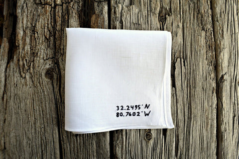 GPS Coordinates Hand Embroidered Pocket Square