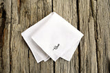 White Irish linen pocket square with hand rolled hem and hand embroidered initial in black