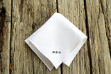 Irish linen handkerchief in white embroidered with wedding date