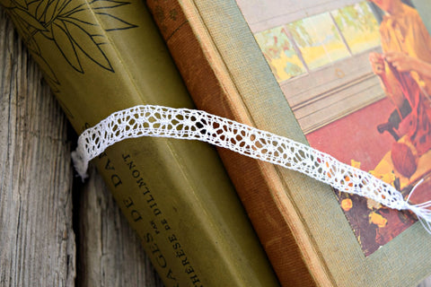 Handmade bobbin lace in white laying across lacemaking books