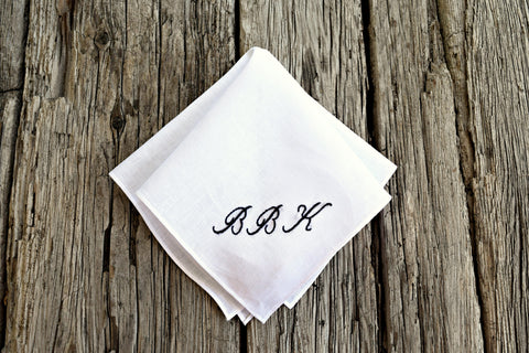 Monogrammed Irish Linen Handkerchief with Three Initials