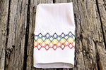 Diamond Tile Embroidered Huck Tea Towel