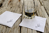 Set of Four Monogrammed Cocktail Napkins : Drink Coasters
