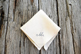 New Groom Mr. Wedding Handkerchief in Cream Linen