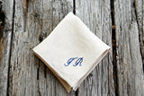 Oatmeal Linen Handkerchief Monogrammed with Two Initials: Simple and Sweet