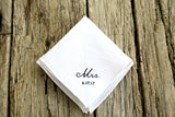 Irish linen handkerchief hand embroidered with Mrs. and wedding date in black