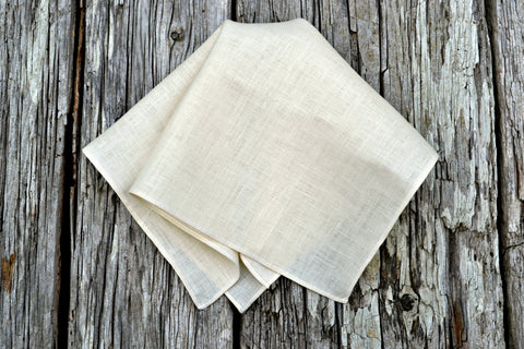 Cream Irish Linen Pocket Square