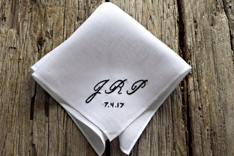 Monogrammed Handkerchief with Three Initials and Wedding Date