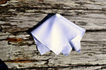 White Irish linen hankie with narrow rolled hems