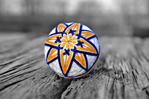 Miniature Star Tiny Temari Ball in Yellow and Blue