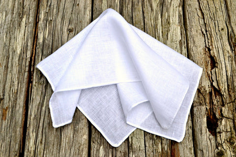 Hand Rolled White Linen Pocket Square : Handkerchief