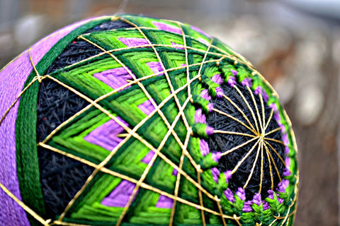 Exotic Flower Hand Embroidered Temari Poi Balls