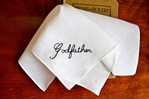 Godfather Handkerchief : Pocket Square for a Christening