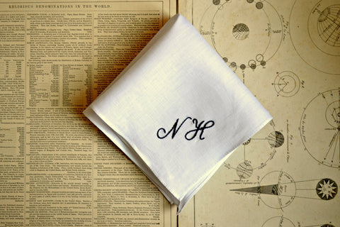 Irish Linen Handkerchief with Two Initials - Simple and Sweet