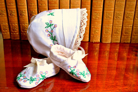 Hand Embroidered Forget Me Not Newborn Layette with Heirloom Lace, Baby Bonnet and Booties