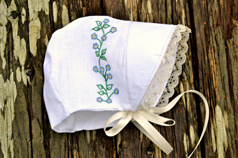 Forget Me Not Christening Bonnet with Bobbin Lace