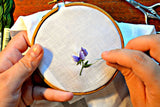 Sweet Pea Hand Embroidered Irish Linen Handkerchief