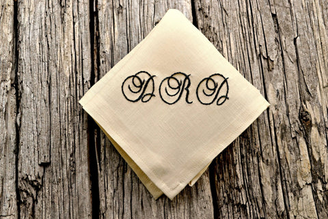 Personalized Cream Linen Hankerchief with Three Initials