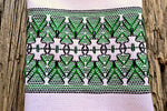 Hand Stitched Folk Pattern Tea Towel in Green