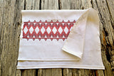 Red Diamonds Hand Stitched Huckaback Kitchen Towel