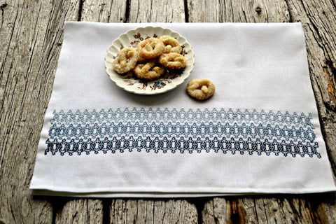 Hand Embroidered Hazy Blues Kitchen Tea Towel