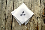 White linen handkerchief hand embroidered with Maine lighthouse