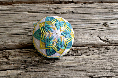 Marine Star Soft Blue and Yellow Japanese Temari Ball Ornament