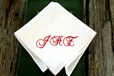 Personalized White Linen Handkerchief with Three Initials : Elegant Scrolls