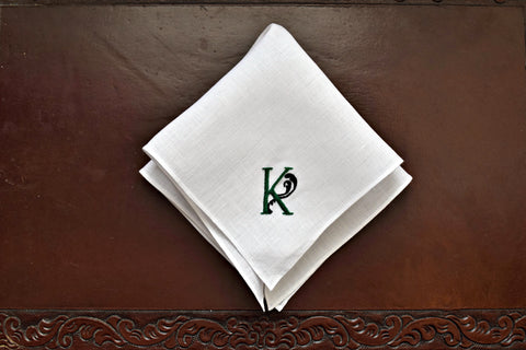 Monogrammed Handkerchief with One Initial - Manuscript Flourish