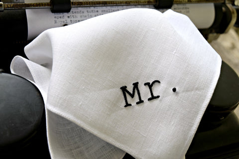 White Irish linen handkerchief embroidered with Mr. in black in typewriter font